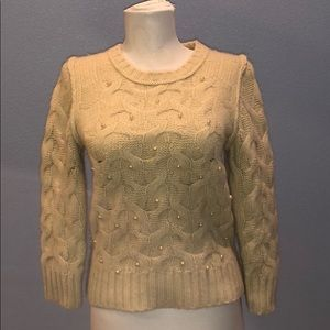 Ann Taylor Cream Wool Cable Knit Sweater